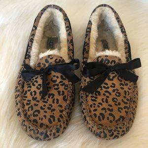 UGG Dakota Moccasin Slippers Leopard Bow Tie 8